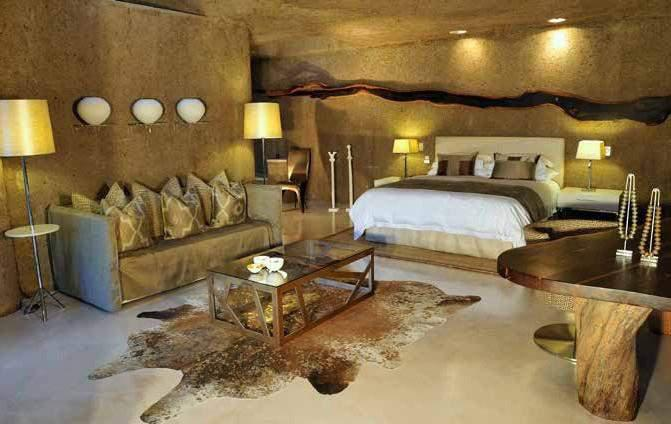 Luxurious bedroom in natural building